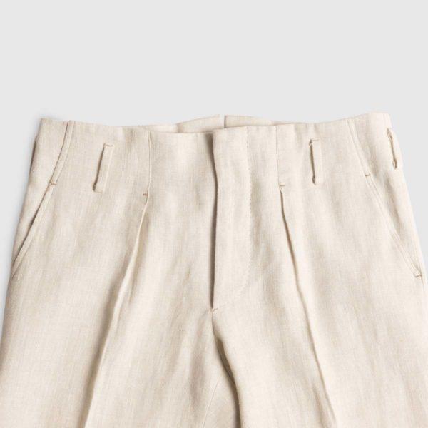 Pantalone a vita alta in Lino Irlanese Panna