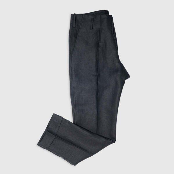Pantalone a vita alta in Lino Irlandese nero