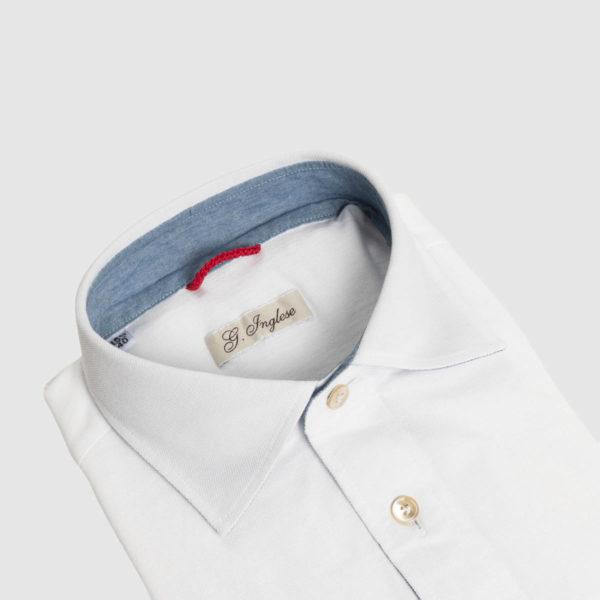Polo in Piquet di Cotone Bianco inserti in Denim