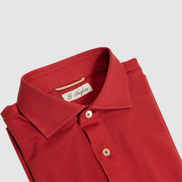 Polo in Piquet di Cotone Rosso