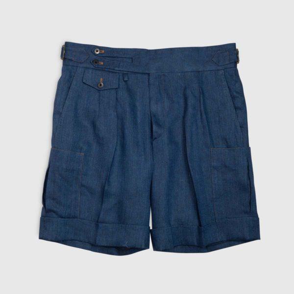 Pantalone Corto 2 pinces in Lino effetto Denim