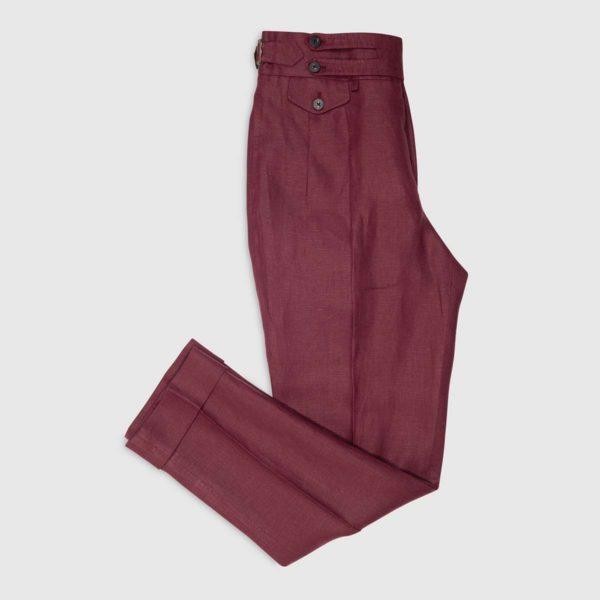 Pantalone 2 Pinces in Lino Irlandese amaranto