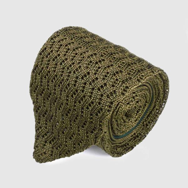 Cravatta in seta tricot Verde, punto zig zag