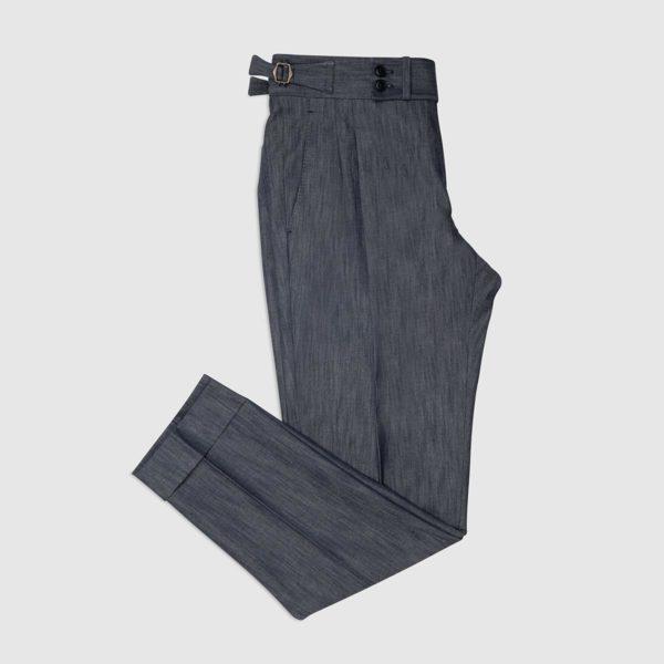 Pantaloni Gurkha In Cotone Elasticizzato – Denim