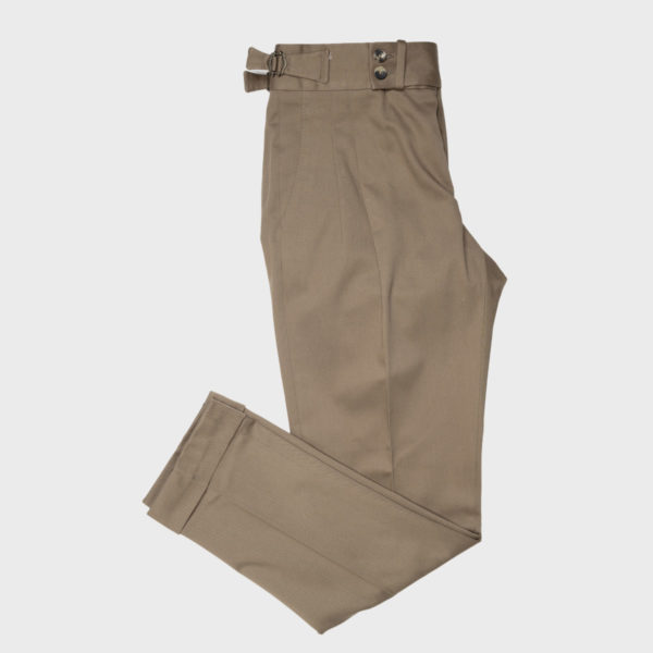 Pantaloni Gurkha 2 pinces in Cotone elasticizzato – Marrone