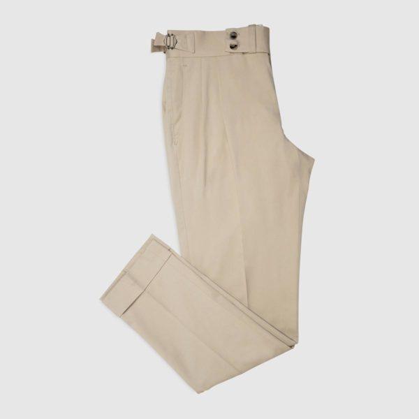 Pantaloni 2 Pinces in Cotone – Beige