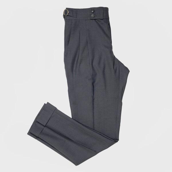 Pantaloni Gurkha 2 pinces in Lana  – Antracite