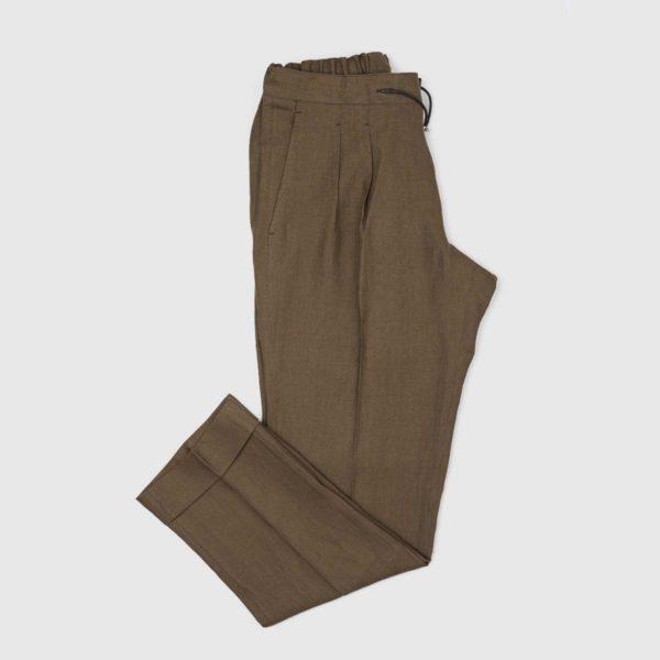 Pantaloni Jogging 2 pinces in lino Marrone