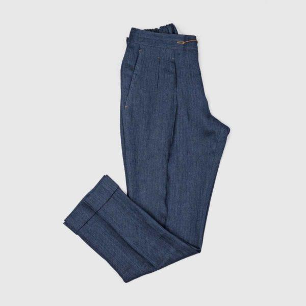 Pantaloni Jogging 2 pinces in Denim