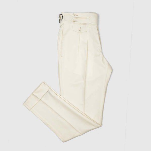 Pantaloni Crema 2 Pinces in Lana 150'S