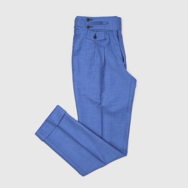 Pantaloni Blu Royale 2 Pinces in Lana 150'S