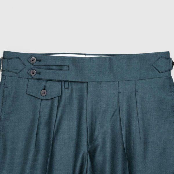 Pantaloni Verde Bluastro 2 Pinces in Lana 150'S