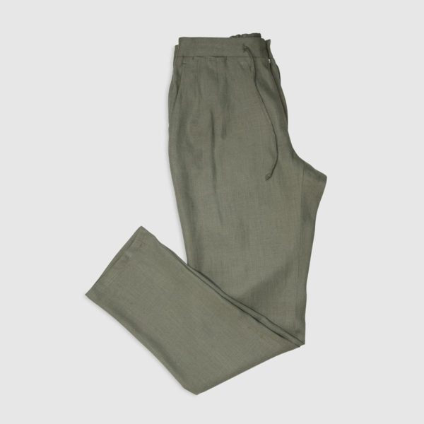 Pantaloni Jogging 2 Pinces in Lino – Verde