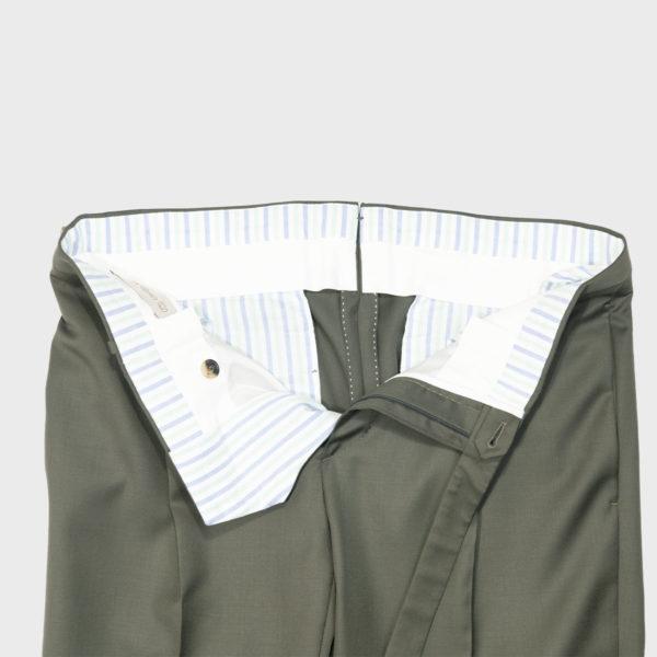 Pantalone 1 pince in Lana – Verde