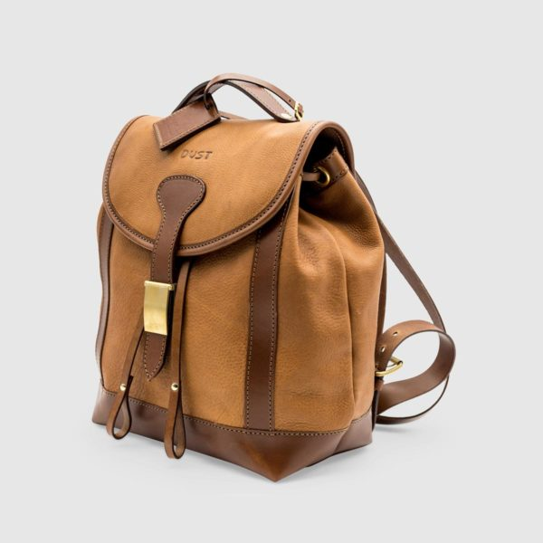 Vegetable Tumbled Leather Backpack  – Light Brown Leather