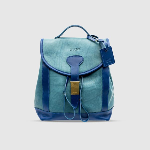 Vegetable Tumbled Leather Backpack – Light Blue Leather