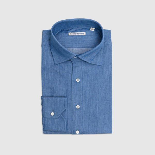 Camicia 100% Cotone Doppio Ritorto A Polo – Denim Lavaggio Medio