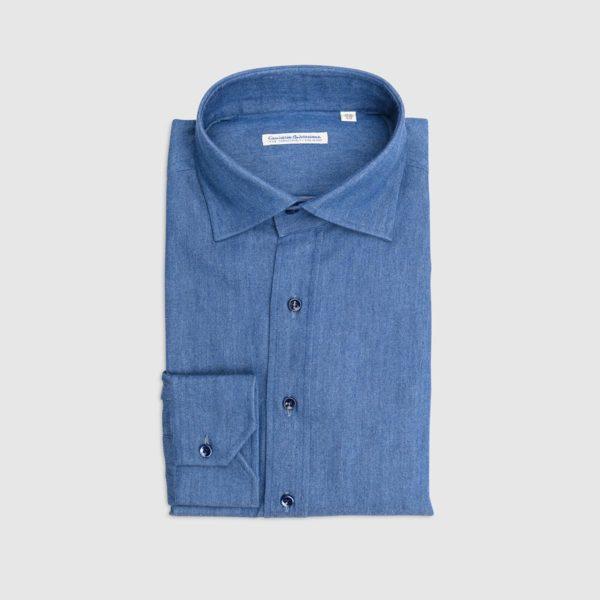 100% Double Twisted Cotton Denim Shirt – Medium Blue Wash