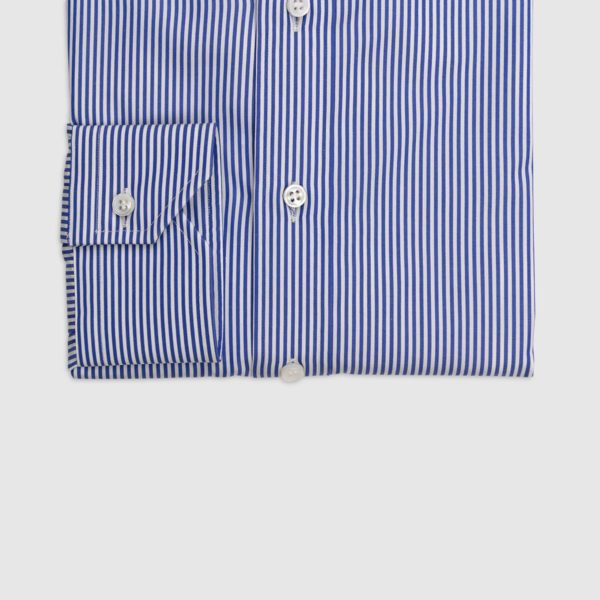 100% Double Twisted Popeline Cotton Shirt – Navy Blue and White Stripes