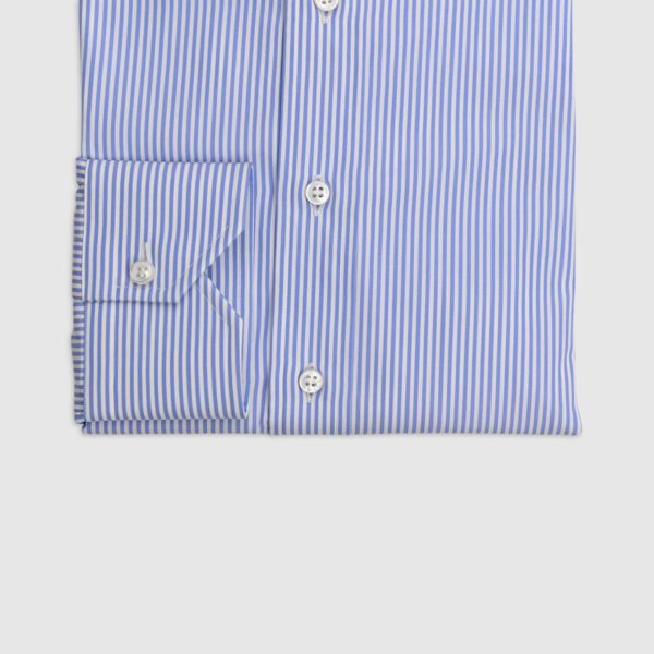 100% Double Twisted Popeline Cotton Shirt – Light Blue and White Stripes