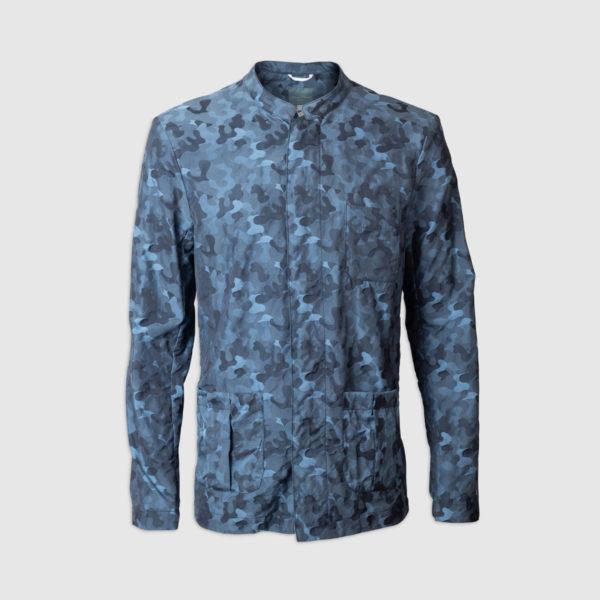 Bomber Effetto Camouflage Blu