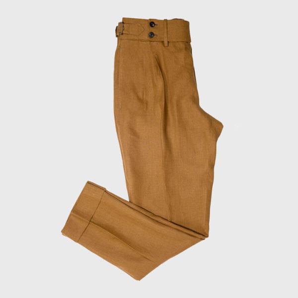 Pantalone 2 pinces in Lino Irlanese mattone