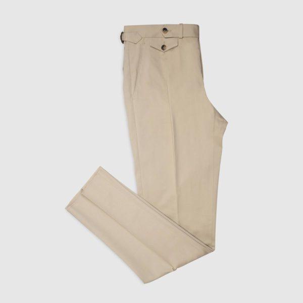 Pantalone 1 Pinces in Cotone elasticizzato – Beige