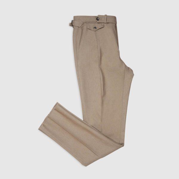 Pantalone 1 Pince in Cotone – Marrone Melange