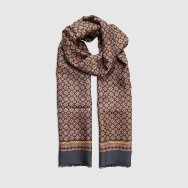 Sciarpa in Seta/lana Con Disegni Geometrici