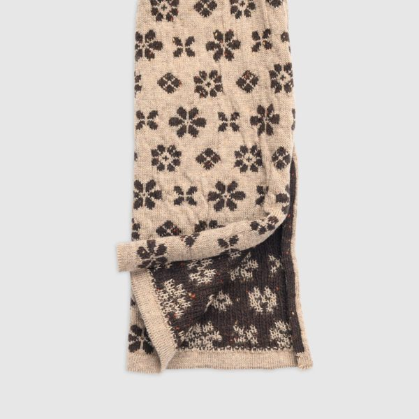 Sciarpa in Lana Con Disegni Floreali Double Face