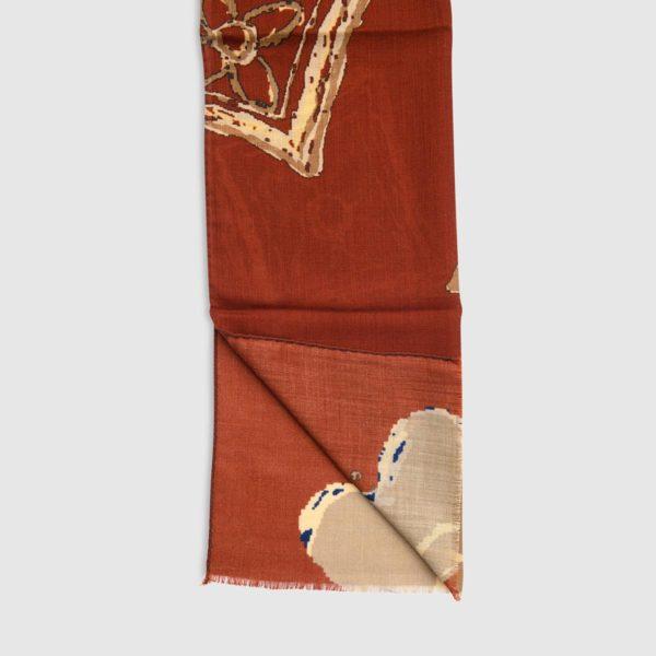 Sciarpa in Lana Con Medaglioni