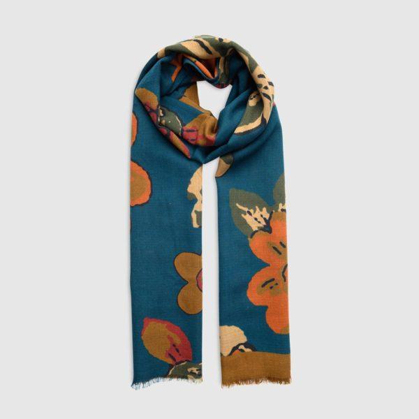 Sciarpa in Lana Con Disegni Floreali