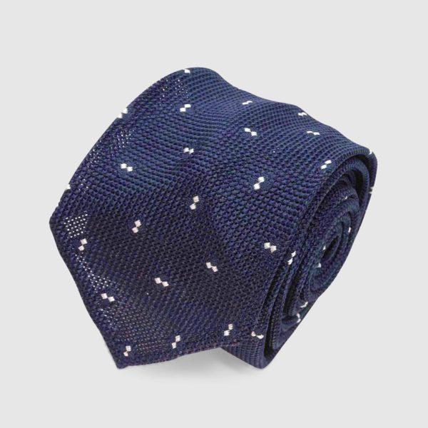 Silk Grenadine Navy Blue Polka Dot Tie