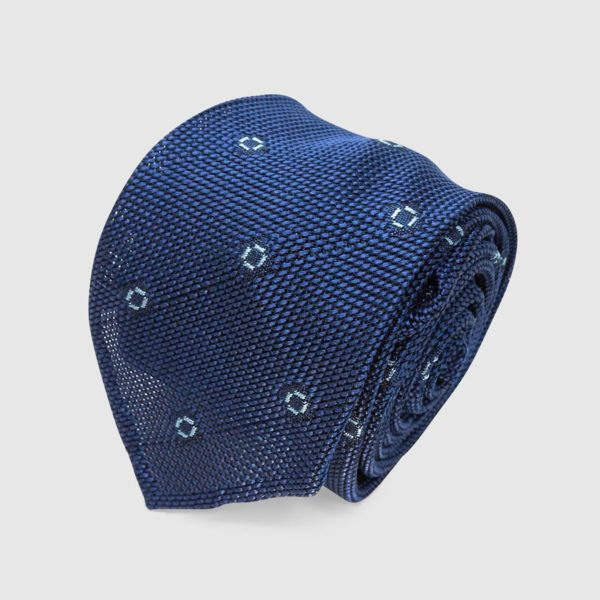 Grenadine Blue Silk Tie With Blue Polka Dots